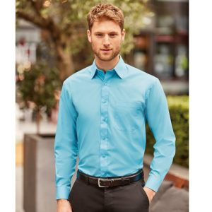 Long sleeve polycotton easycare poplin shirt